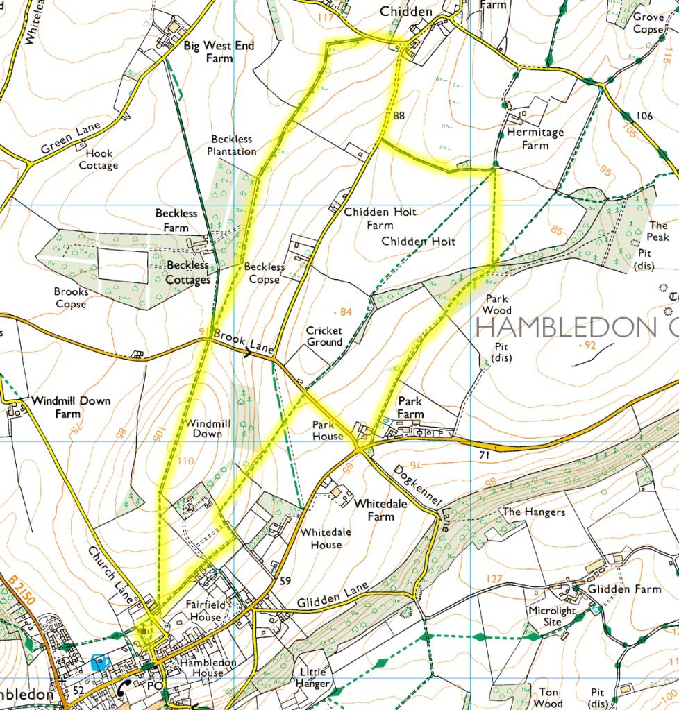 Chidden Hambledon Walk Route