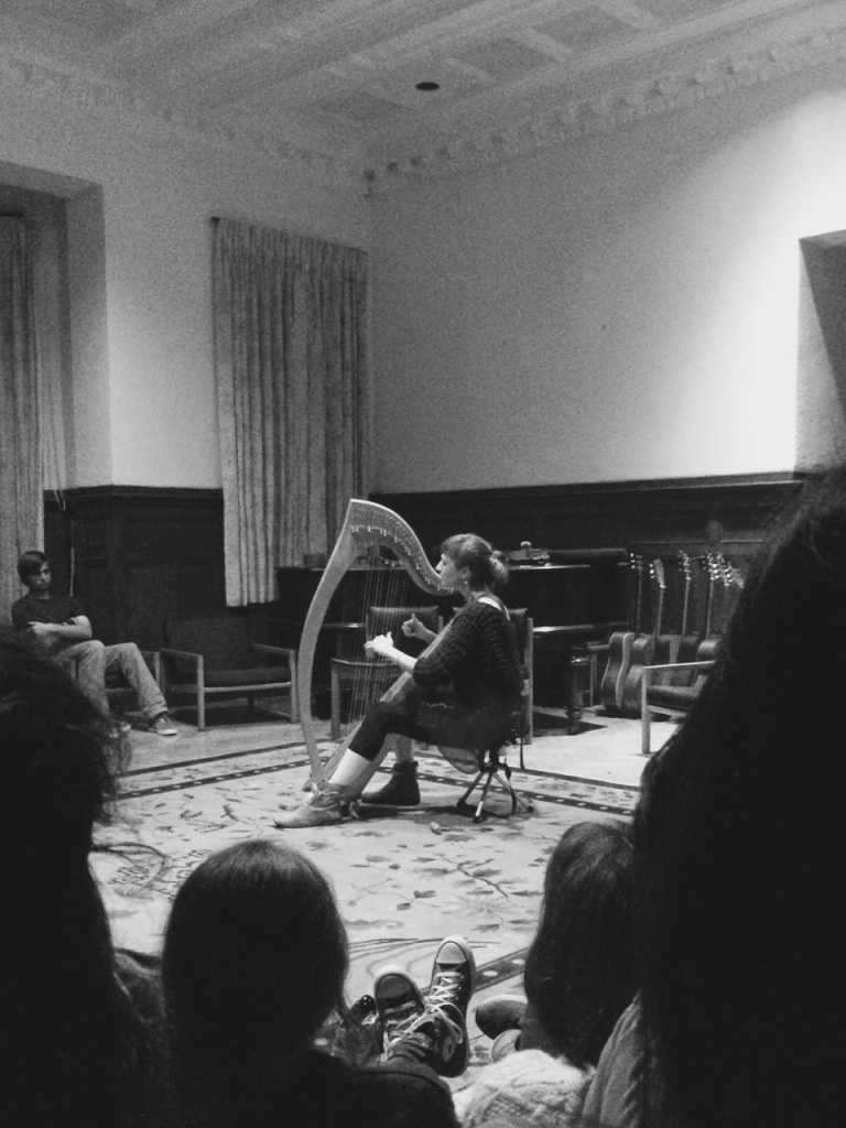 Harp playing at Brockwood
