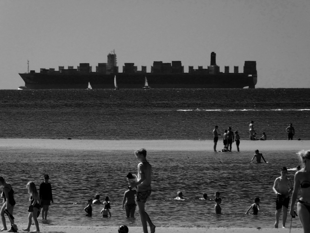 West Wittering and cargo ship